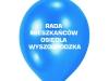 Niebieskie balony z nadrukiem Rada Mieszkańców Osiedla Wyszogrodzka. Balony z logo firmowym.