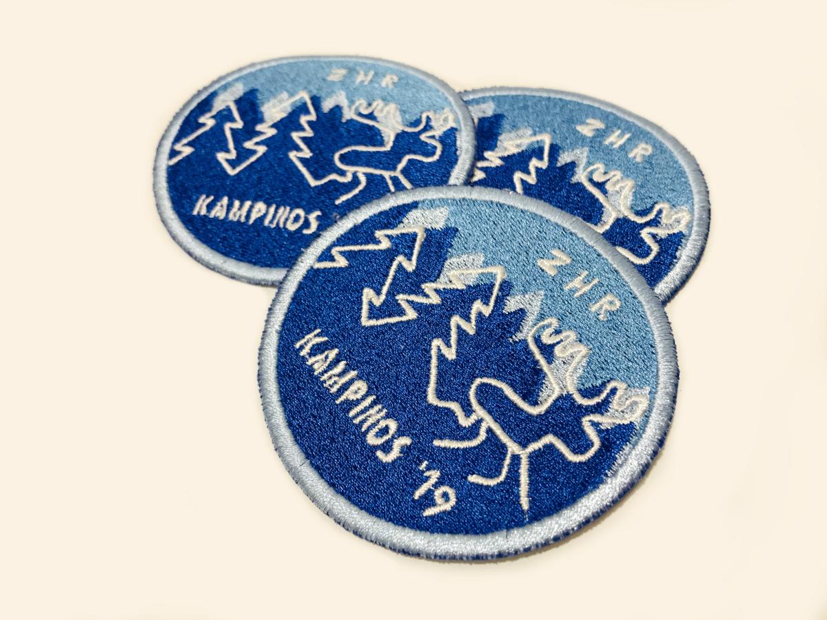 ZHR KAMPINOS 2019. Naszywki komputerowe, haft komputerowy. Kolorowe logo wyszywane