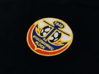 Herb Stoczniowca - wykonane na kurtkach, ortalionach oraz plecakach zawodników z Płocka. Haft wykonany bezpośrednio na odzieży oraz gadżetach. Haftowany herb Stoczniowiec Płock