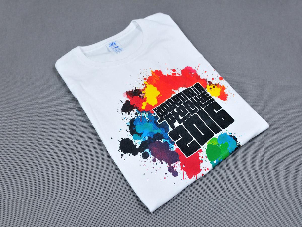 T-shirt Juwenalia Płockie 2016.  Koszulki z nadrukiem logotypu Juwenaliów Płockich organizowanych przez Politechnikę Warszawską oraz Państwową Wyższą Szkołę Zawodową w Płocku.