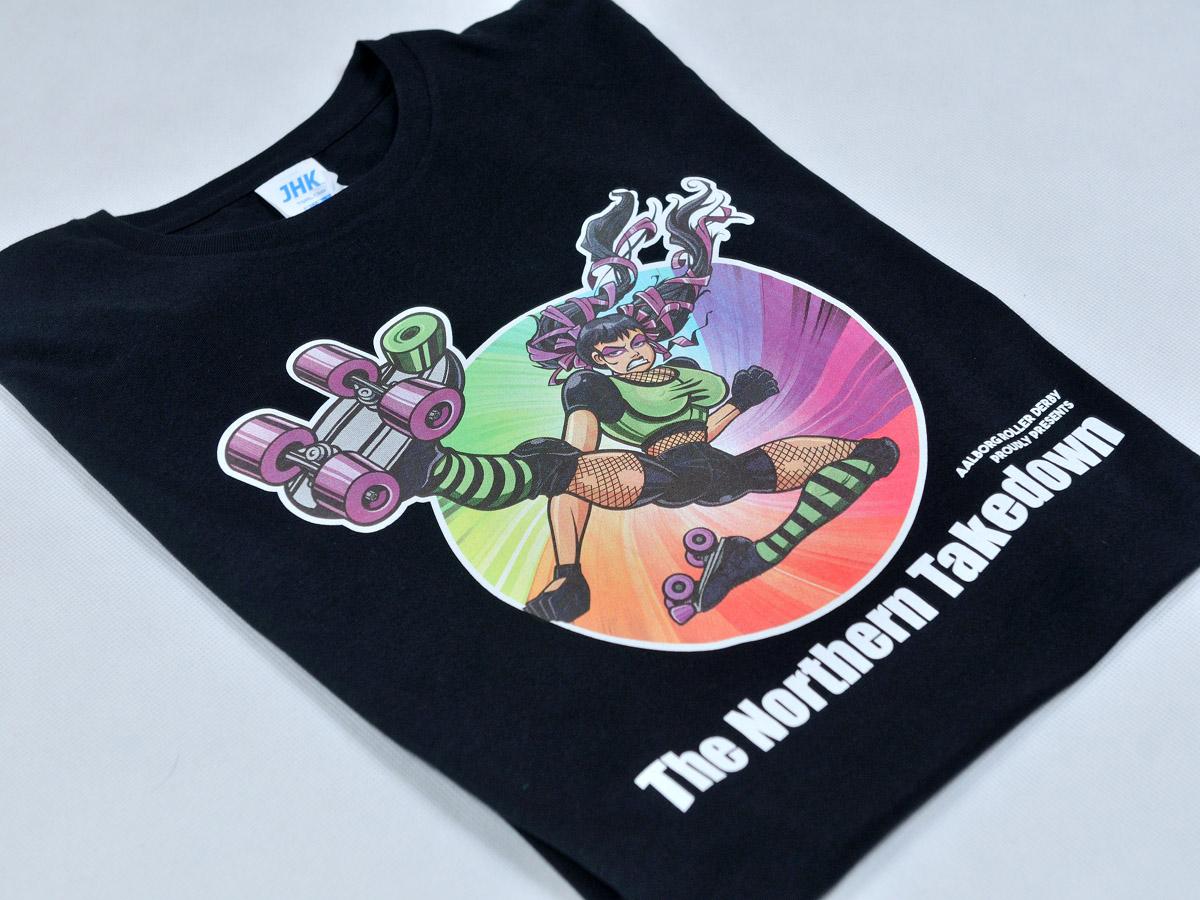 Koszulki dla The Northern Takedown - Aalborg Roller Derby z Danii. Pełnokolorowy nadruk w technologi sitodruku.