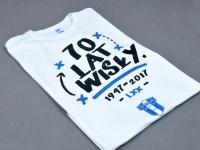 Koszulka kibicowska z nadrukiem. T-shirt z nadrukiem 70 Lat Wisły Płock. Koszulka z herbem Wisły. Koszulka z Twoim logo.