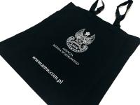 Agencja Mienia Wojskowego. Granatowa torba bawełniana z nadrukiem. Torby z nadrukiem AMW. Torby reklamowe Płock
