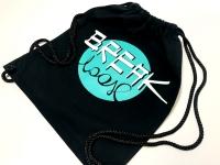 Studio Tańca Break Loose Płock. Worko-plecak bawełniany z firmowym nadrukiem. Worek na buty, strój sportowy, kimono itp. Workoplecak z nadrukiem sitem - logo klubowe, firmowe itp. Workoplecaki Break